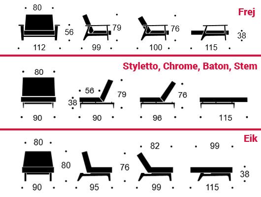 Maßangaben Klappsofa Splitback Stuhl