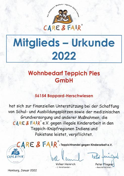 Care & Fair Mitgliedsurkunde Wohnbedarf Pies