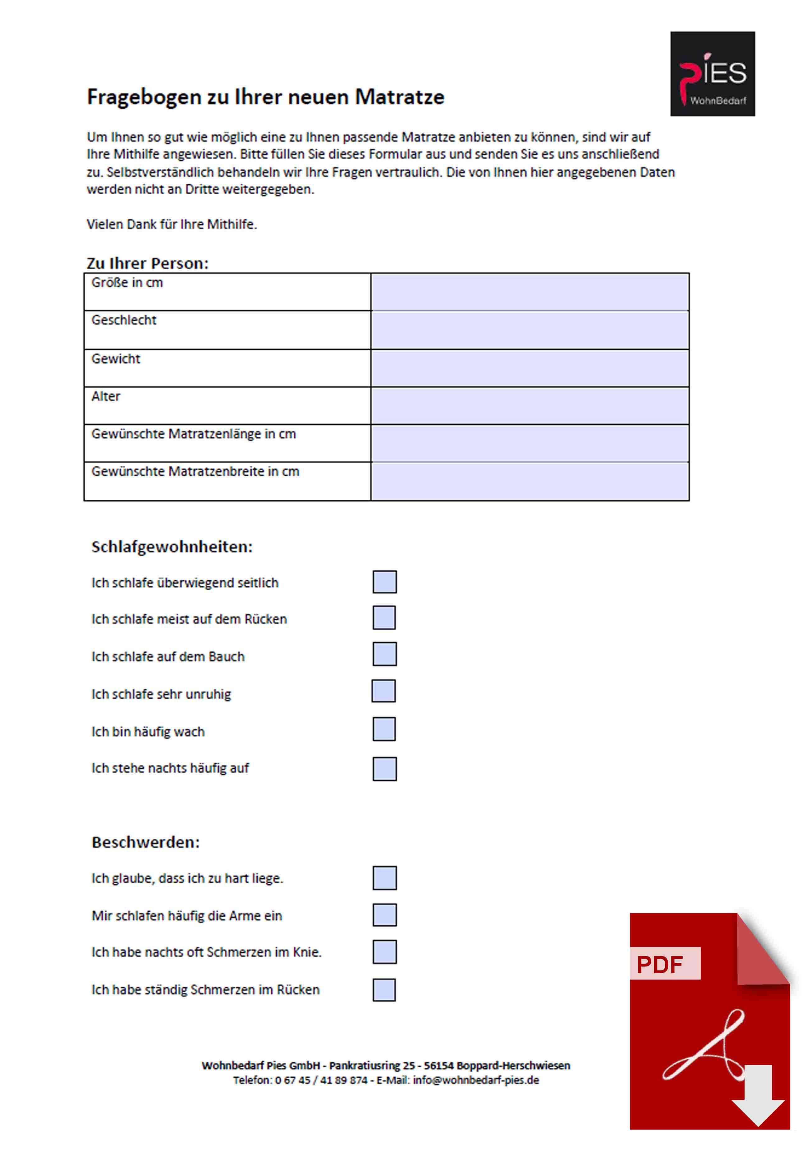 Fragebogen zu Matratzenkauf als ausfüllbares PDF